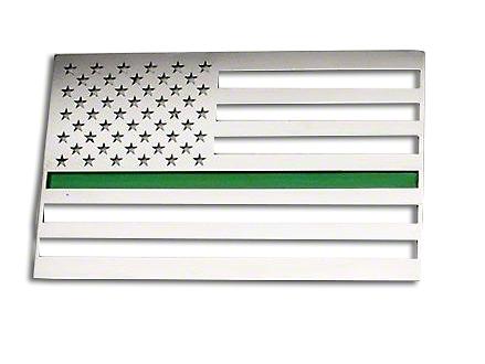 ACC Stainless Steel American Flag Emblem - Polished w/ Thin Green Line (87-18 Jeep Wrangler YJ, TJ, JK & JL)