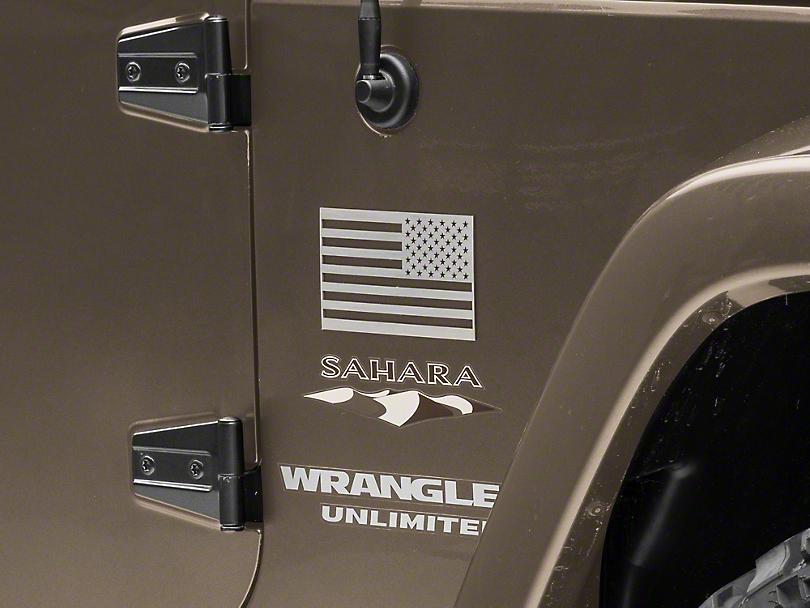 American Car Craft Stainless Steel American Flag Emblem - Brushed (87-19 Jeep Wrangler YJ, TJ, JK & JL)