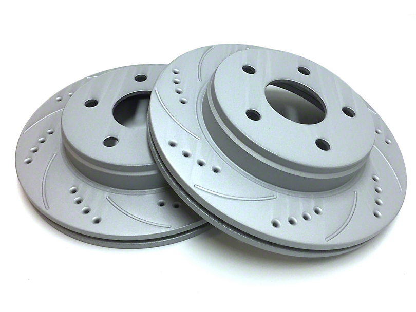 SP Performance Cross-Drilled & Slotted Rotors w/ Gray ZRC - Front Pair (87-06 Jeep Wrangler YJ & TJ)