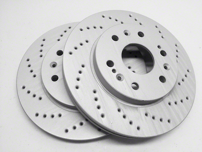 SP Performance Cross-Drilled Rotors w/ Gray ZRC - Front Pair (90-98 Jeep Wrangler YJ & TJ; 1999 Jeep Wrangler TJ w/ 3-1/4 in. Composite Rotors)