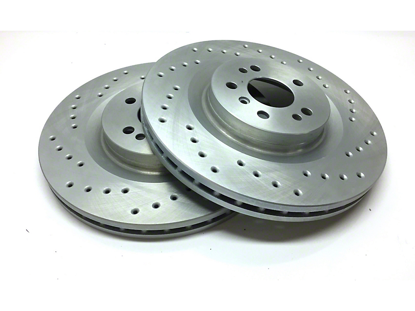 SP Performance Cross-Drilled Rotors w/ Silver Zinc Plating - Front Pair (07-18 Jeep Wrangler JK)