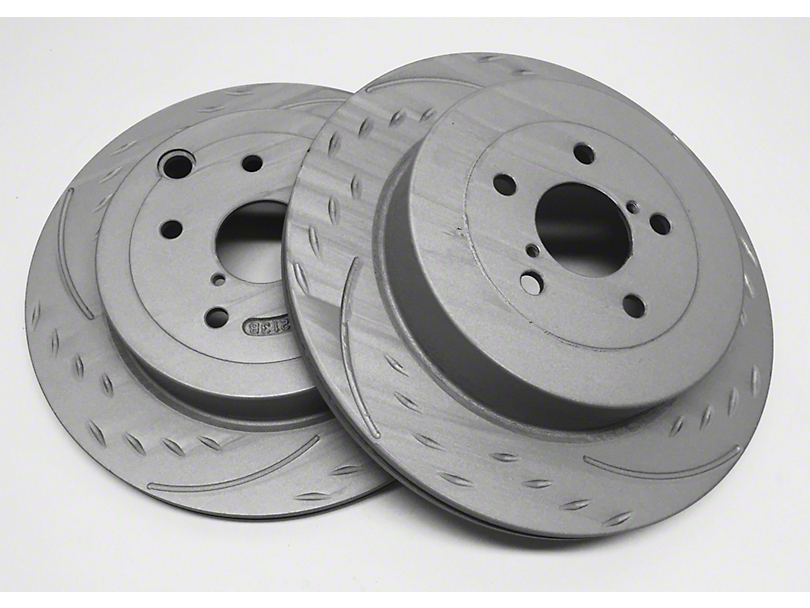 SP Performance Diamond Slot Rotors w/ Gray ZRC - Rear Pair (03-06 Jeep Wrangler TJ)