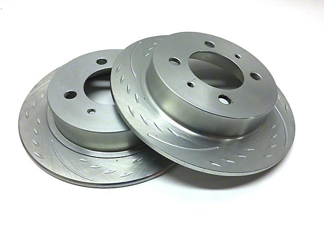 SP Performance Diamond Slot Rotors w/ Silver Zinc Plating - Front Pair (90-06 Jeep Wrangler YJ & TJ)