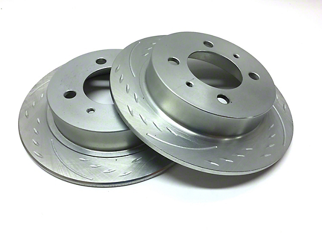 SP Performance Diamond Slot Rotors w/ Silver Zinc Plating - Rear Pair (03-06 Jeep Wrangler TJ)