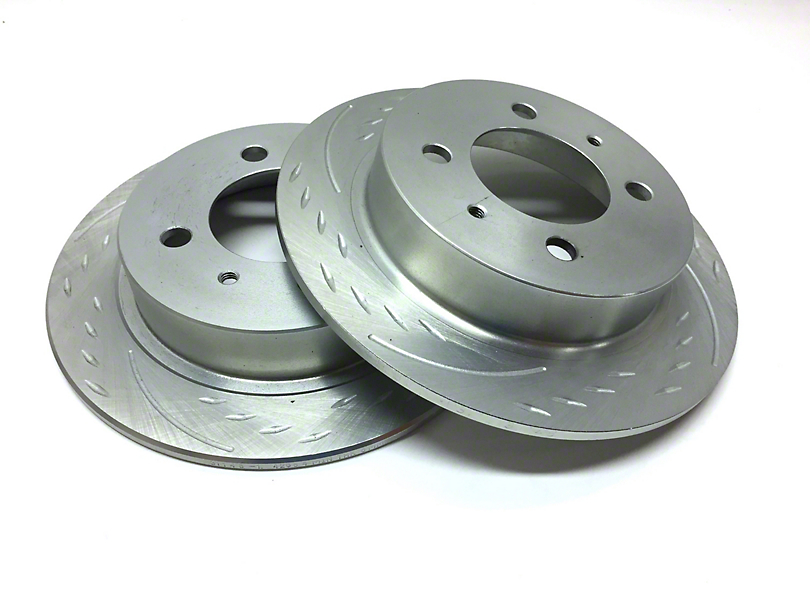 SP Performance Slotted Rotors w/ Silver Zinc Plating - Rear Pair (03-06 Jeep Wrangler TJ)