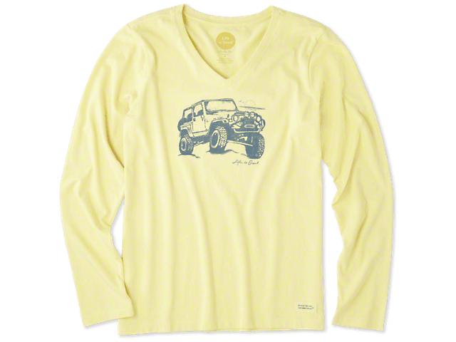 Life is Good Women's Off-Road Beach Long Sleeve V-Neck Crusher T-Shirt