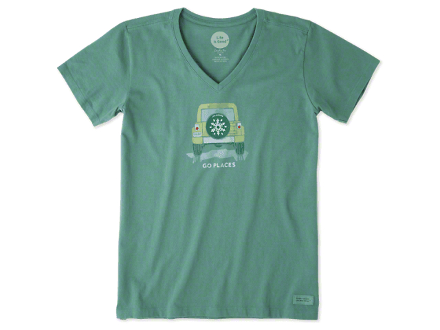 Life is Good Women's Go Places Snowflake V-Neck Crusher T-Shirt