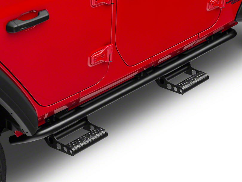 N-Fab Cab Length RKR Side Step Bars - Textured Black (18-19 Jeep Wrangler JL 4 Door)