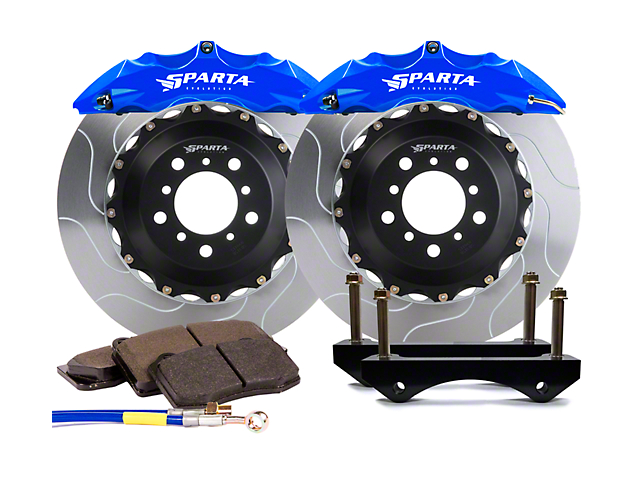 Sparta Evolution Satrun Front Big Brake Kit; Signature Blue Calipers (07-18 Jeep Wrangler JK)