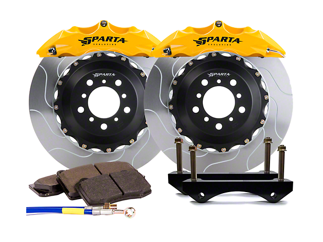 Sparta Evolution Satrun Front Big Brake Kit; Yellow Calipers (07-18 Jeep Wrangler JK)