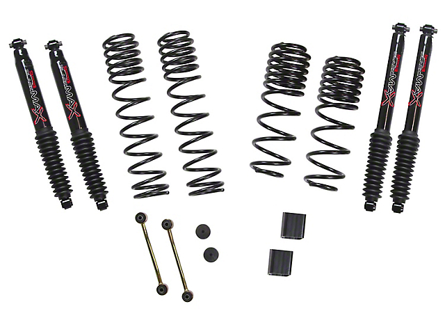 SkyJacker 1 to 1.50-Inch Dual Rate Long Travel Suspension Lift Kit with Black MAX Shocks (18-21 2.0L or 3.6L Jeep Wrangler JL Rubicon 4 Door)