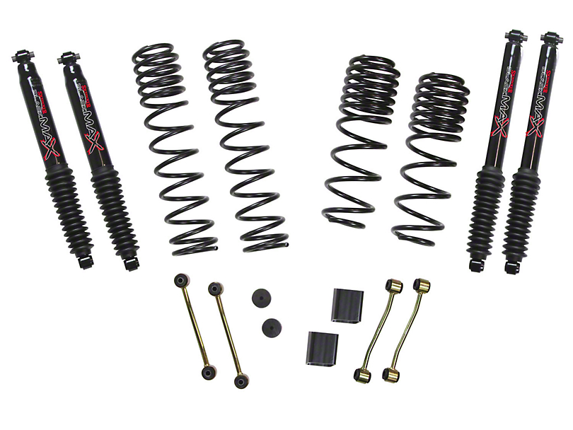 SkyJacker 2-2.5 in. Dual Rate Long Travel Suspension Lift Kit w/ Black MAX Shocks (18-20 Jeep Wrangler JL 4 Door, Excluding Rubicon)