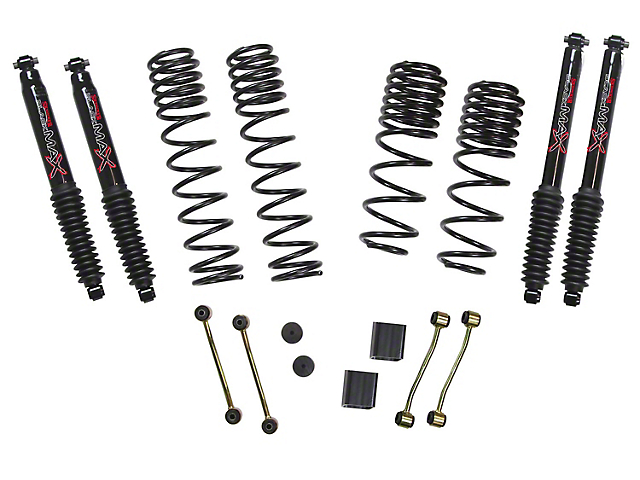 SkyJacker 2-2.5 Inch Dual Rate Long Travel Suspension Lift Kit w/ Black MAX Shocks (18-20 Jeep Wrangler JL Rubicon 4 Door)