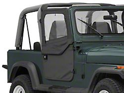 Bestop 2-Piece Full Fabric Doors; Black Denim (80-95 Jeep CJ7 & Wrangler YJ)