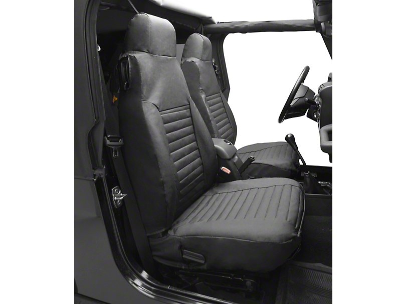 Bestop Front High-Back Seat Covers; Charcoal/Gray (97-02 Jeep Wrangler TJ)