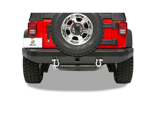 Bestop HighRock 4x4 Rear Bumper w/ Receiver Hitch - Matte Black (07-18 Jeep Wrangler JK)