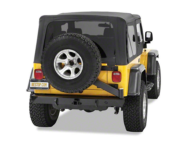 Bestop HighRock 4x4 Rear Bumper with Tire Carrier; Satin Black (97-06 Jeep Wrangler TJ)