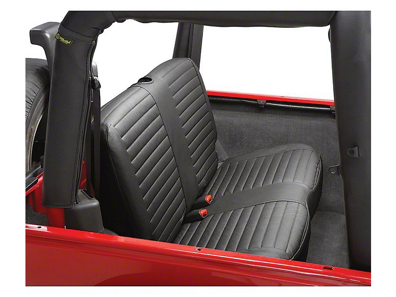 Bestop Rear Bench Seat Cover; Black Denim (97-02 Jeep Wrangler TJ)
