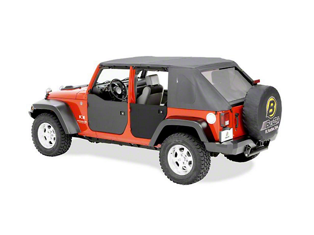 Bestop Rear Half Doors - Black Diamond (07-18 Jeep Wrangler JK 4 Door)