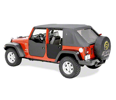Bestop Rear Half Doors - Black Diamond (07-18 Wrangler JK 4 Door)