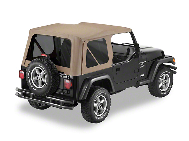 Bestop Replace-A-Top Soft Top; Fabric Only; Dark Tan (97-02 Jeep Wrangler TJ)