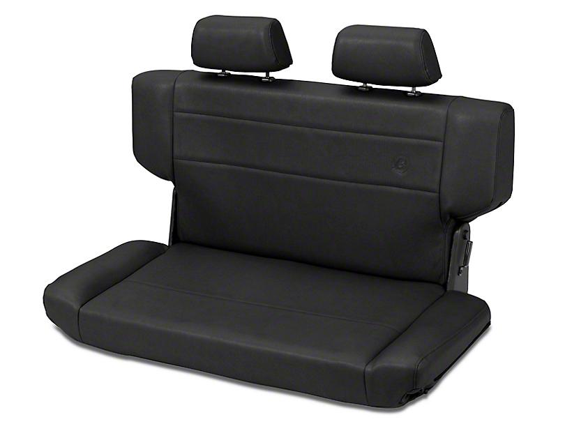 Bestop Trailmax II Fold & Tumble Rear Bench Seat in Vinyl - Black Crush (97-06 Jeep Wrangler TJ)