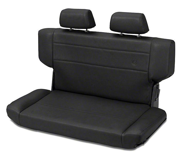 Bestop Trailmax II Fold & Tumble Rear Bench Seat in Vinyl - Black Denim (97-06 Wrangler TJ)