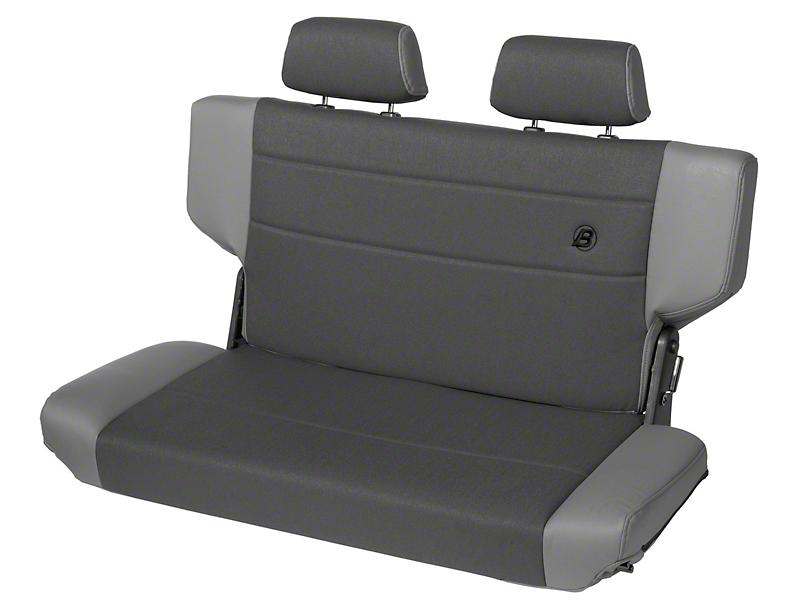 Bestop Trailmax II Fold & Tumble Rear Bench Seat in Vinyl - Charcoal/Gray (97-06 Jeep Wrangler TJ)