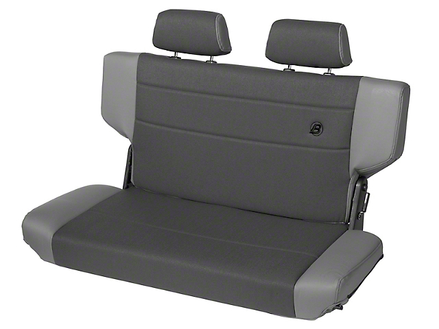 Bestop Trailmax II Fold & Tumble Rear Bench Seat in Vinyl - Charcoal/Gray (97-06 Jeep Wrangler TJ)