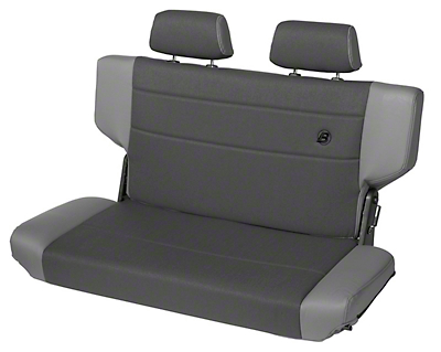 Bestop Trailmax II Fold & Tumble Rear Bench Seat in Vinyl - Charcoal/Gray (97-06 Wrangler TJ)