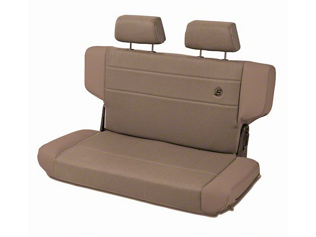 Bestop Trailmax II Fold & Tumble Rear Bench Seat in Vinyl w/ Center Fabric Insert - Spice (97-06 Jeep Wrangler TJ)