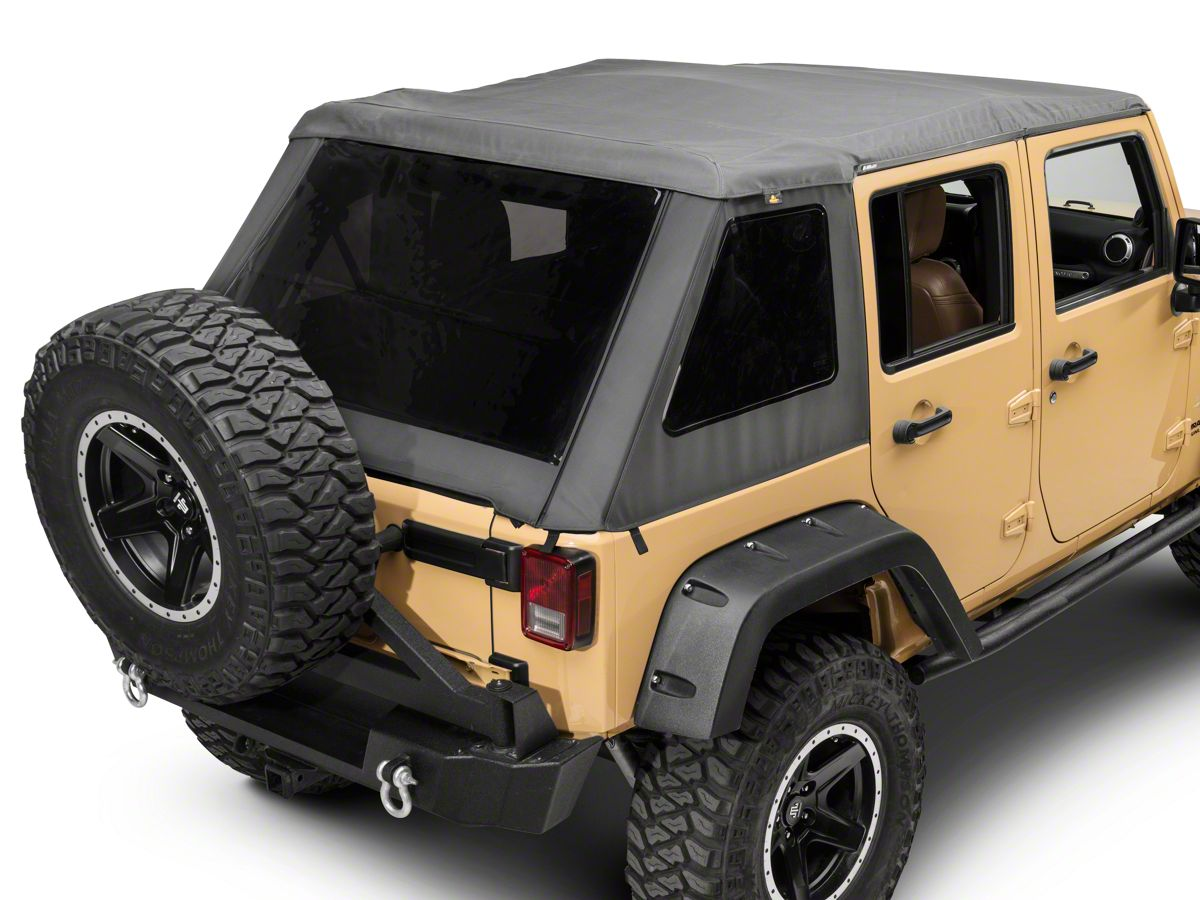 Bestop Trektop Nx Glide Soft Top Gray Twill 07 18 Jeep Wrangler Jk 4 Door