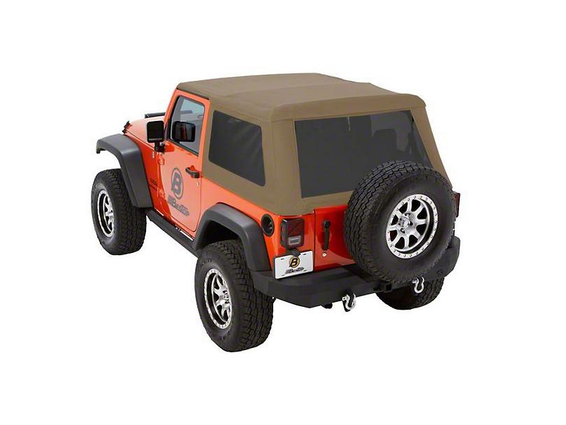 Bestop Trektop NX Glide Soft Top - Tan Twill (07-18 Jeep Wrangler JK 2 Door)