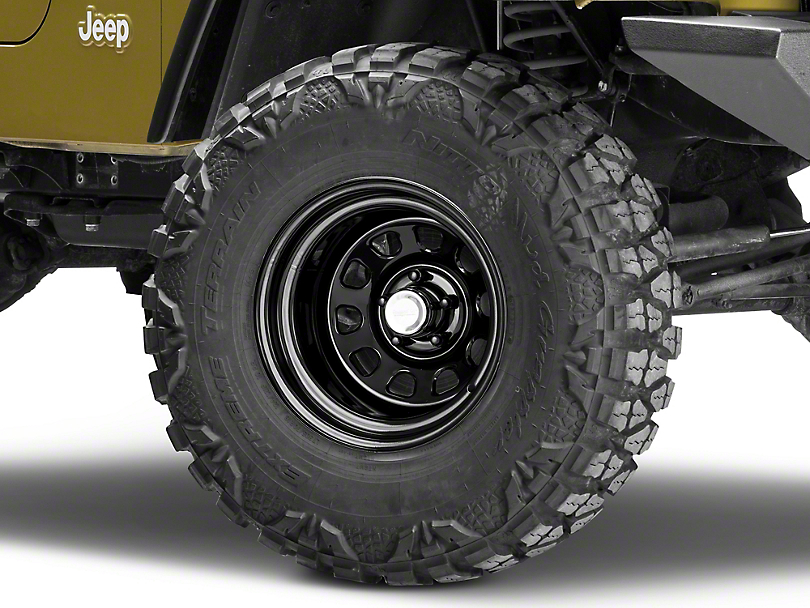 Rugged Ridge D-Window Black Steel Wheel - 15x10 -32mm Offset (87-06 Jeep Wrangler YJ & TJ)