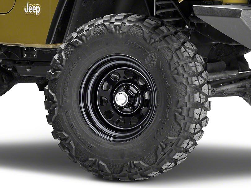 Rugged Ridge D-Window Black Steel Wheel - 15x8 (87-06 Jeep Wrangler YJ & TJ)