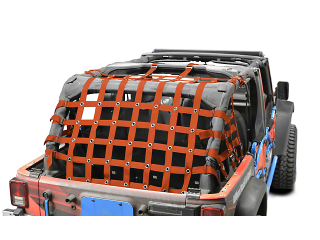 Steinjager Cargo Net - Orange (07-18 Jeep Wrangler JK 4 Door)