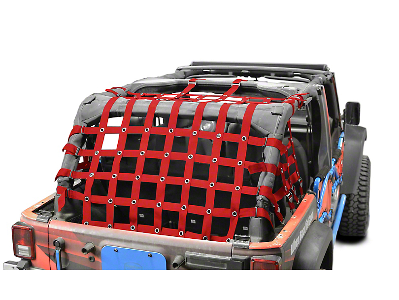 Steinjager Cargo Net - Red (07-18 Jeep Wrangler JK 4 Door)