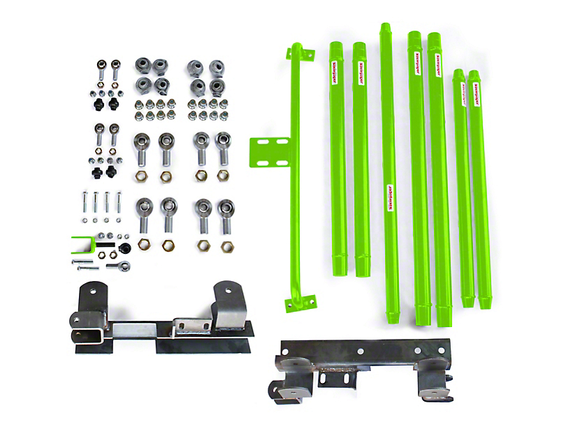 Steinjager Chrome Moly Tube Long Arm Tavel Kit for 2-6 in. Lift - Neon Green (97-06 Jeep Wrangler TJ)