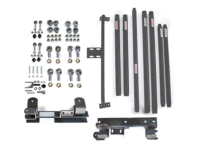 Steinjager DOM Tube Long Arm Travel Kit for 2 to 6-Inch Lift; Textured Black (97-06 Jeep Wrangler TJ)