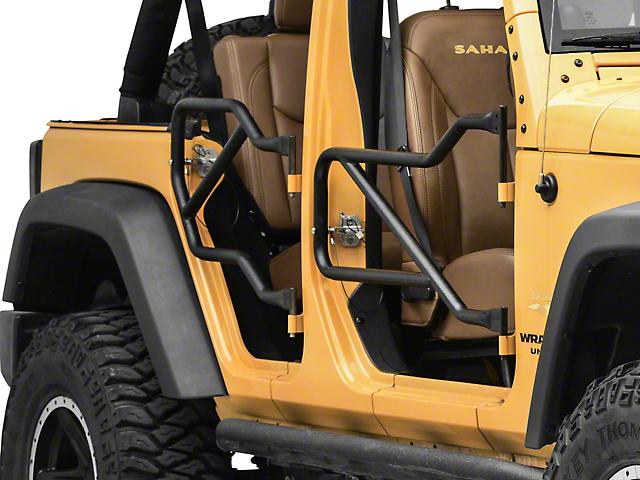 Steinjager Front and Rear Trail Tube Doors; Textured Black (07-18 Jeep Wrangler JK 4 Door)