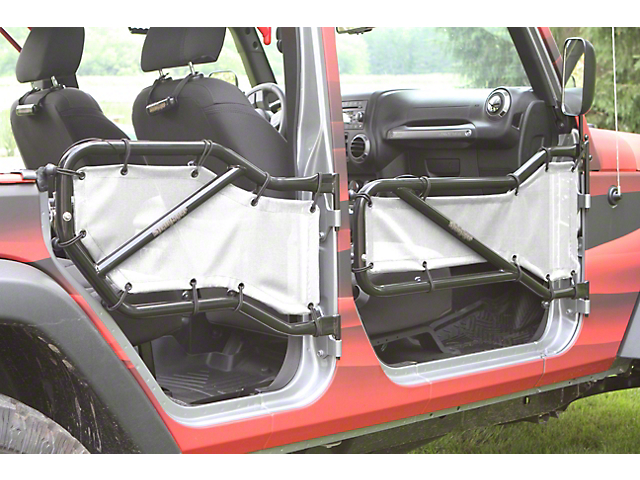Steinjager Front U0026 Rear Tube Door Cargo Net Covers   White (07 18 Jeep  Wrangler JK 4 Door)