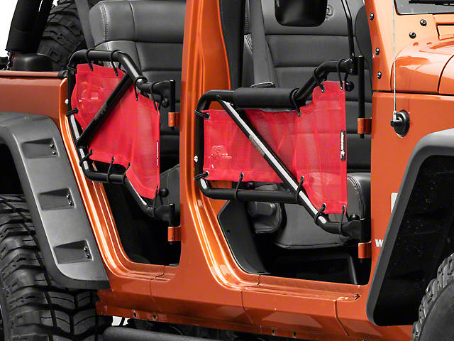 Steinjager Front and Rear Tube Doors; Black and Red Mesh (07-18 Jeep Wrangler JK 4 Door)