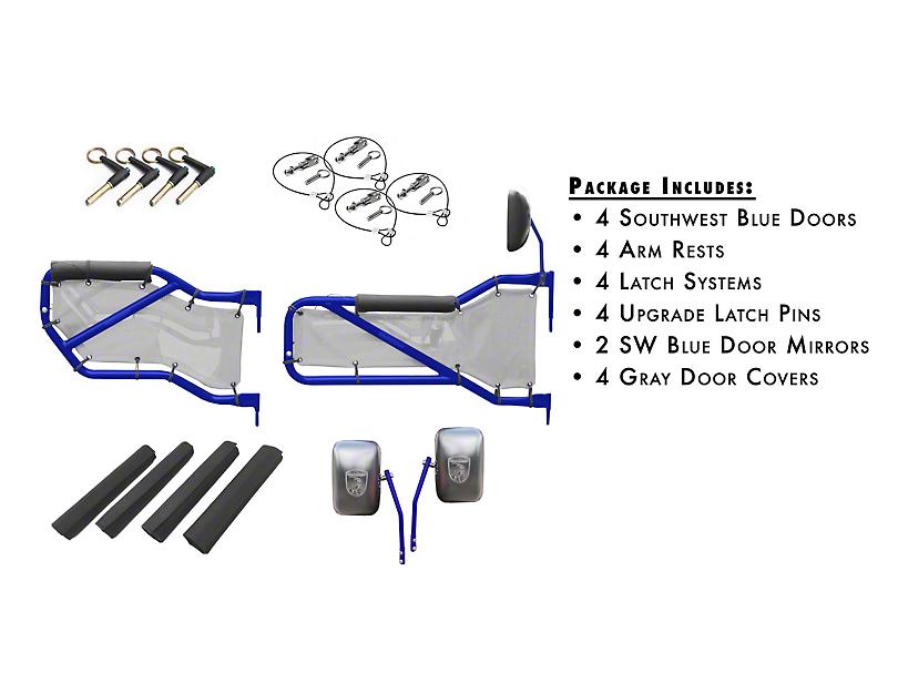 Steinjager Front & Rear Tube Doors - Southwest Blue & Gray Mesh (07-18 Jeep Wrangler JK 4 Door)
