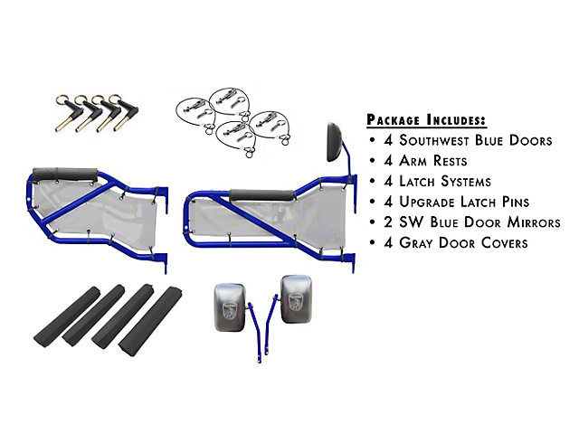 Steinjager Front and Rear Tube Doors; Southwest Blue and Gray Mesh (07-18 Jeep Wrangler JK 4 Door)