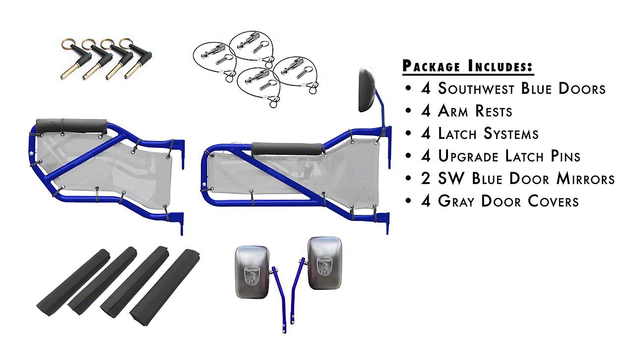 Steinjager Front & Rear Tube Doors - Southwest Blue & Gray Mesh (07-18 Wrangler JK 4 Door)