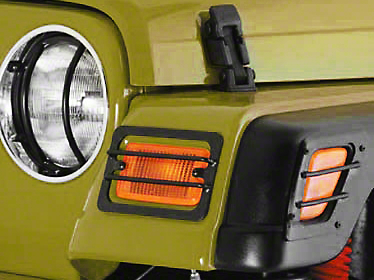 Smittybilt Black 4-Piece Euro Turn Signal Guards (97-06 Jeep Wrangler TJ)