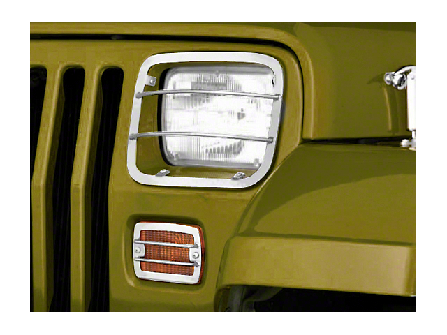 Rugged Ridge Euro Headlight and Turn Signal Light Guards; Stainless Steel (87-95 Jeep Wrangler YJ)