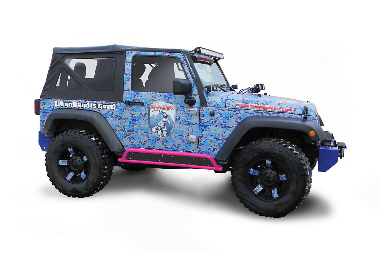 Steinjager Phantom Rock Sliders - Hot Pink (07-18 Jeep Wrangler JK 2 Door)