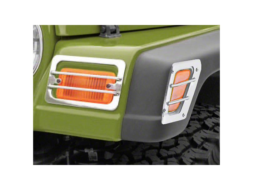 Rugged Ridge Front Side Marker & Turn Signal Euro Guard Kit - Stainless Steel (97-06 Wrangler TJ)
