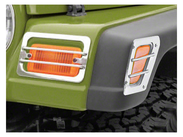 Rugged Ridge Euro Front Side Marker & Turn Signal Light Guard - Stainless Steel (97-06 Jeep Wrangler TJ)